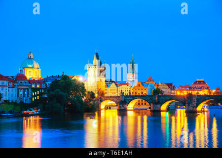 Overview of Prague at night - Stock Photo