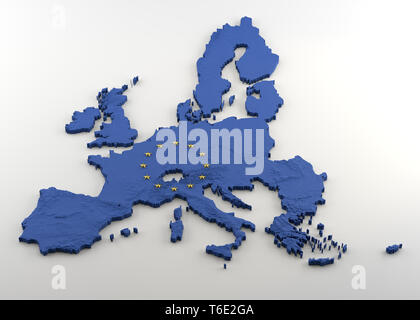 Extruded Map of Political European Union with relief including United Kingdom prior to anticipated Brexit. Texture made of Blue EU flag with gold star - Stock Photo
