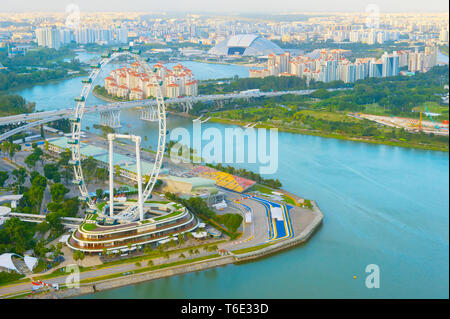 Singapore Flyer river aerial view - Stock Photo