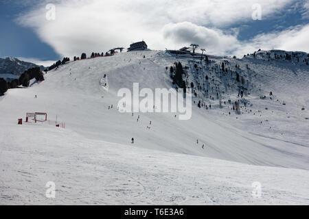 Mountain view of the Val Di Fassa valley on the Dolomites ski slope - Stock Photo