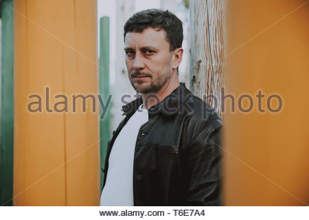 mature man in pensive mood.closeup portrait outdoor. relationship and retirement concept. - Stock Photo