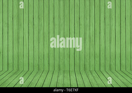 Wood texture background. green wood wall and floor - Stock Photo