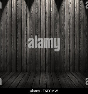 Wood texture background. black wood wall and floor - Stock Photo