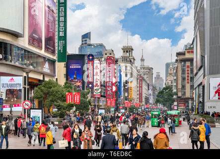 Shanghai Nanjing Road. Crowds of shoppers on East Nanjing Road, one of the busiest streets in the city, Shanghai, China - Stock Photo