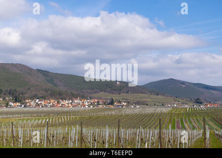 View over vineyards to the wine village Gleisweiler - Stock Photo