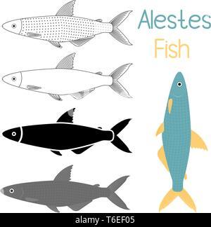 Fish icon set, Alestes liebrecht ii or Alestes ansorgii vector illustration - Stock Photo