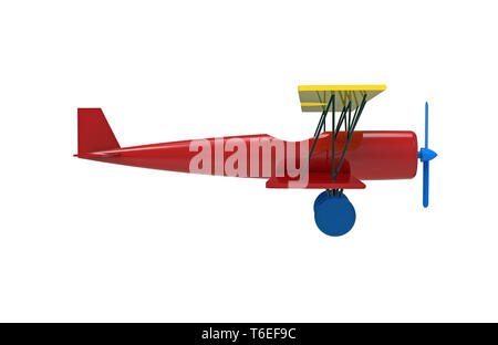 Airplane, colorful wooden toy, 3d rendering, on white background - Stock Photo