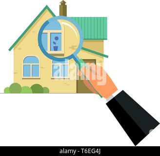 Human hand holding magnifying glass with house, home selection, property project, real estate being checked concept, flat style isolated illustration - Stock Photo