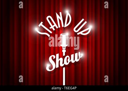 Stand up comedy night live show open mic on empty theatre stage. Vintage microphone against red curtain backdrop. Retro vector art image illustration. - Stock Photo