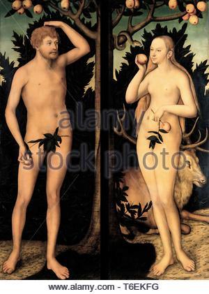Lucas Cranach the Younger-Adam and Eve in the Garden of Eden - Stock Photo