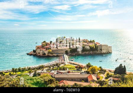 Famous Sveti Stefan island in Budva - Stock Photo