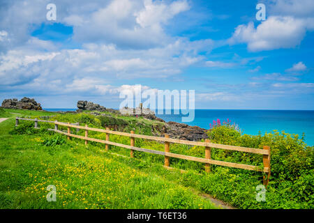 Wooden barrier on the Cornish coast - Stock Photo