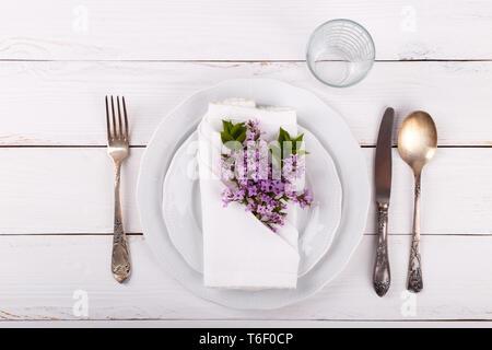 Spring festive table setting - Stock Photo