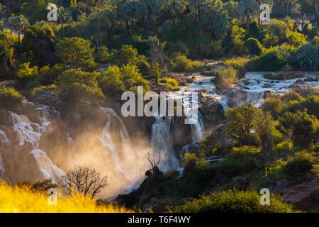 Epupa Falls on the Kunene River in Namibia - Stock Photo