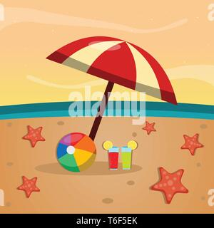 umbrella , juice and starfish on the beach for summer concept vector illustration - Stock Photo