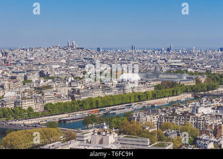View from Eiffel Tower over river Sein - Stock Photo
