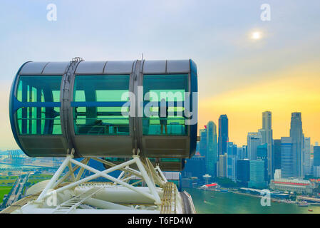 Aerial view Singapore Flyer Downtown - Stock Photo