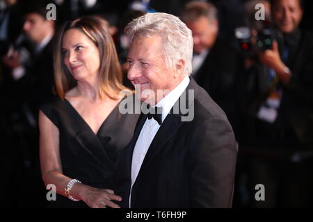 CANNES, FRANCE – MAY 21, 2017: Dustin Hoffman and his wife Lisa Gottsegen attend 'The Meyerowitz Stories' screening in Cannes (Photo: Mickael Chavet) - Stock Photo