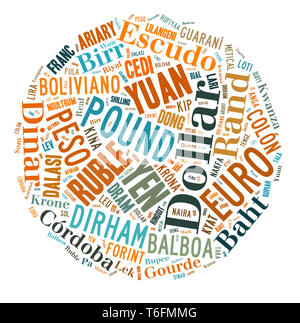 wordcloud illustration of currencies of the world - Stock Photo