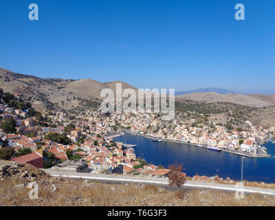 view to the bay in greece in karpathos - Stock Photo