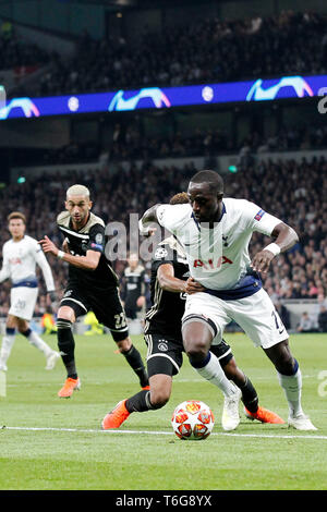 London, UK. 30th Apr, 2019. Moussa Sissoko of Tottenham during the UEFA Champions League Semi Final match between Tottenham Hotspur and Ajax at Tottenham Hotspur Stadium, London, England on 30 April 2019. Photo by Carlton Myrie.  Editorial use only, license required for commercial use. No use in betting, games or a single club/league/player publications. - Stock Photo