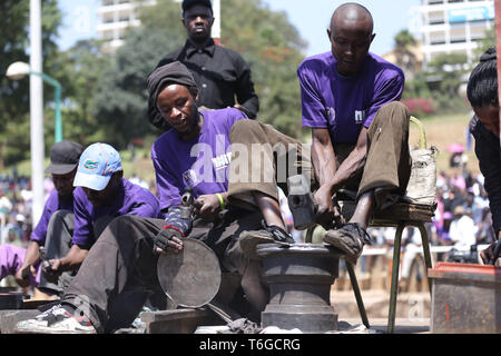 Nairobi, Kenya. 1st May, 2019. Artisan workers seen showing their work during the celebrations.Kenyans celebrated Labour Day at Uhuru Park in Nairobi where some Youths protested against rampant corruption and poor leadership in Kenya. Unemployment and underemployment is widespread in the country. Credit: Billy Mutai/SOPA Images/ZUMA Wire/Alamy Live News - Stock Photo