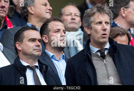 London, UK. 30th Apr 2019. (l-r) Ajax director of football Marc Overmars, ex-Spurs player Rafael van der Vaart and Ajax CEO Edwin van der Sar during the UEFA Champions League semi-final 1st leg match between Tottenham Hotspur and Ajax at Tottenham Hotspur Stadium, High Road, London, England on 30 April 2019. Photo by Andy Rowland. Credit: PRiME Media Images/Alamy Live News - Stock Photo