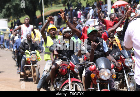 Nairobi, Kenya. 1st May, 2019. Youths seen protesting on motor bikes during the celebrations.Kenyans celebrated Labour Day at Uhuru Park in Nairobi where some Youths protested against rampant corruption and poor leadership in Kenya. Unemployment and underemployment is widespread in the country. Credit: Billy Mutai/SOPA Images/ZUMA Wire/Alamy Live News - Stock Photo