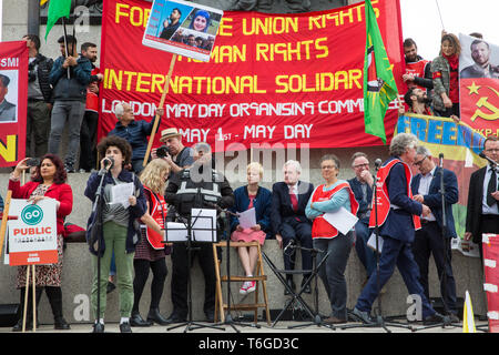 London, UK. 1st May, 2019. A young speaker from Extinction Rebellion addresses representatives of trade unions and socialist and communist parties from many different countries attending the annual May Day rally in Trafalgar Square to mark International Workers' Day. Credit: Mark Kerrison/Alamy Live News - Stock Photo