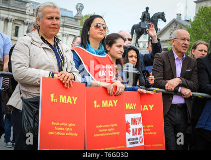 London, UK, 1st May 2019. Protesters at the rally in Trafalgar Square.The annual London May Day march makes its way from Clerkenwell Green and finishes in a rally in Trafalgar Square, where speakers including trade union representatives, human rights organisations and politicians celebrate International Workers Day. Credit: Imageplotter/Alamy Live News - Stock Photo