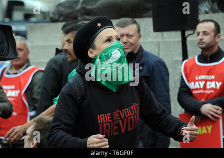 London, UK. 1st May, 2019. Mayday rally in Trafalgar Square. Credit: JOHNNY ARMSTEAD/Alamy Live News - Stock Photo