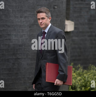 FILE: London, UK. 1st May 2019.  British Defence Secretary Gavin Williamson, seen here attending Cabinet Meeting on 30th April 2019, is sacked by Prime Minister Theresa May, accused of the Huawei leak, which he strongly denies. Credit: Malcolm Park/Alamy Live News. - Stock Photo