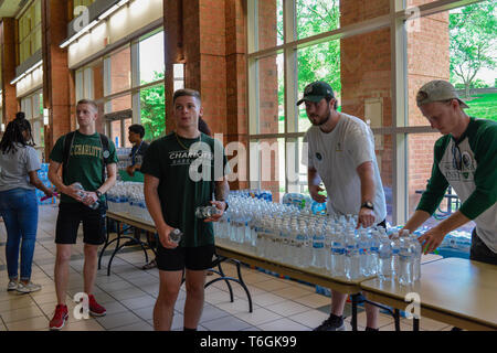 Charlotte, North Carolina, USA. 01st May, 2019. Students, teachers, and community members gather to hold vigil at UNCC. A mass shooting occurred at the university the prior day adding one more school to the list of school shootings in America in the midst of a gun control controversy. Credit: Castle Light Images/Alamy Live News - Stock Photo