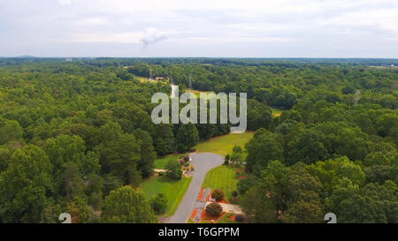 typical american country subdivision neighborhood aerial - Stock Photo