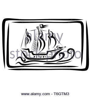 wall painting depicting an old ship, black pattern - Stock Photo