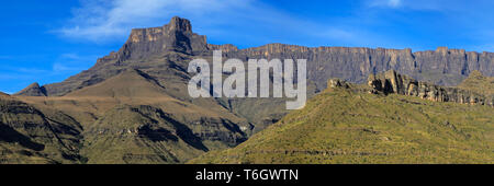 Panoramic view the amphitheater of the Drakensberg mountains, Royal Natal National Park, South Africa - Stock Photo