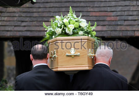 Embargoed to 0001 Thursday May 02 Undated file photo of a funeral taking place. The most popular songs played at funerals have been revealed - with no traditional hymns in the top 10 for the first time. - Stock Photo