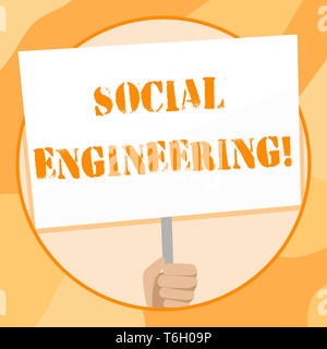 Handwriting text writing Social Engineering. Conceptual photo attack photo that relies heavily on huanalysis interaction Hand Holding Blank White Plac - Stock Photo