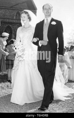 Lady Anne Coke and Colin Tennant on their wedding day as they leave the St. Withiburga's Church, Holkham, Norfolk, after their wedding ceremony.  *NEG CORRUPT, SCANNED ON CONTACT - Stock Photo