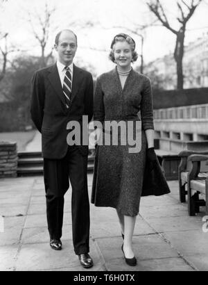 Lady Anne Coke, 23-year-old eldest daughter of the Earl and Countess of Leicester, and Colin Tennant, 29-year-old eldest son and heir of Lord Glenconner, in London after they had announced their engagement. *NEG CORRUPT, SCANNED ON CONTACT - Stock Photo