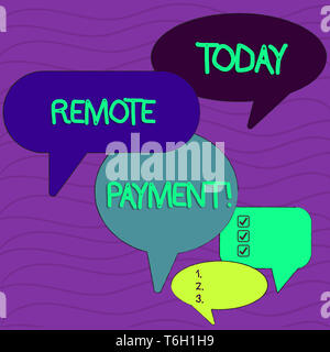 Conceptual hand writing showing Remote Payment. Concept meaning payment transaction initiated via internet or from a device Speech Bubble in Different - Stock Photo