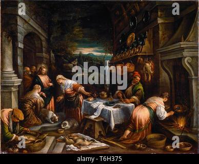 Bassano Jacopo  - Christ in the house of Martha, Mary and Lazarus ( Cristo in casa di Marta, Maria e Lazzaro ) 1510–1592 - Stock Photo