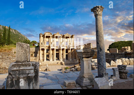 The ancient Library of Celsus , a Roman building ruins in Ephesus, Anatolia, Turkey - Stock Photo