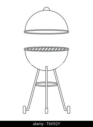 bbq kettle barbecue outline drawing isolated on white background vector illustration EPS10 - Stock Photo