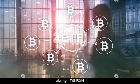 Bitcoin ETF cryptocurrency trading and investment concept on double exposure background - Stock Photo