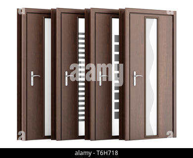 four wooden doors isolated on white background - Stock Photo