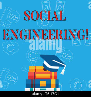 Word writing text Social Engineering. Business photo showcasing attack photo that relies heavily on huanalysis interaction Graduation Cap with Tassel  - Stock Photo