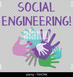 Word writing text Social Engineering. Business photo showcasing attack photo that relies heavily on huanalysis interaction Color Hand Marks of Differe - Stock Photo