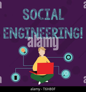 Writing note showing Social Engineering. Business concept for attack photo that relies heavily on huanalysis interaction Woman Sitting with Crossed Le - Stock Photo