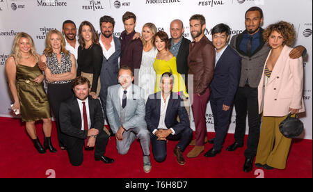 """New York, NY - April 29, 2019: Cast and crew attend the """"The Boys"""" screening during the 2019 Tribeca Film Festival at SVA Theater - Stock Photo"""